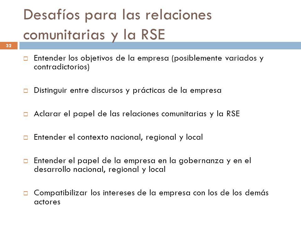 Desafíos para las relaciones comunitarias y la RSE Entender los objetivos de la empresa (posiblemente variados y contradictorios) Distinguir entre dis