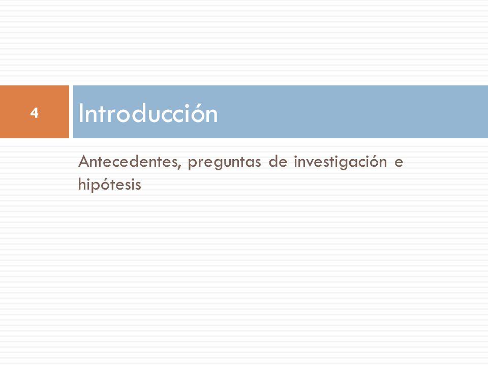 Antecedentes, preguntas de investigación e hipótesis Introducción 4