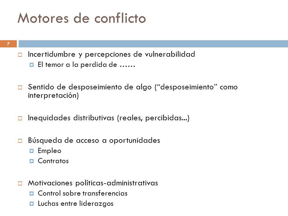 Motores de conflicto Incertidumbre y percepciones de vulnerabilidad El temor a la perdida de …… Sentido de desposeimiento de algo (desposeimiento como