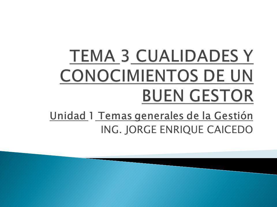 Unidad 1 Temas generales de la Gestión ING. JORGE ENRIQUE CAICEDO