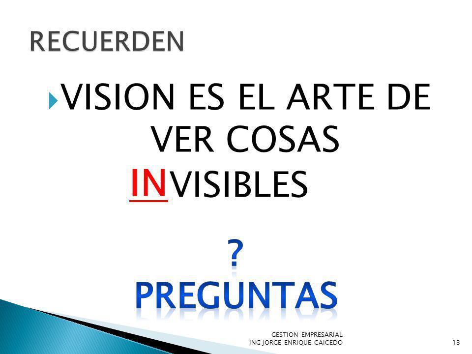 VISION ES EL ARTE DE VER COSAS VISIBLES GESTION EMPRESARIAL ING JORGE ENRIQUE CAICEDO13 IN