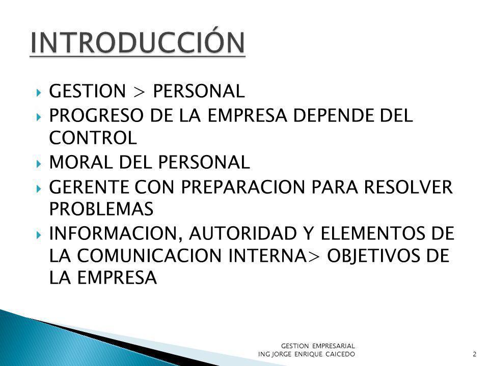 GESTION > PERSONAL PROGRESO DE LA EMPRESA DEPENDE DEL CONTROL MORAL DEL PERSONAL GERENTE CON PREPARACION PARA RESOLVER PROBLEMAS INFORMACION, AUTORIDAD Y ELEMENTOS DE LA COMUNICACION INTERNA> OBJETIVOS DE LA EMPRESA GESTION EMPRESARIAL ING JORGE ENRIQUE CAICEDO2