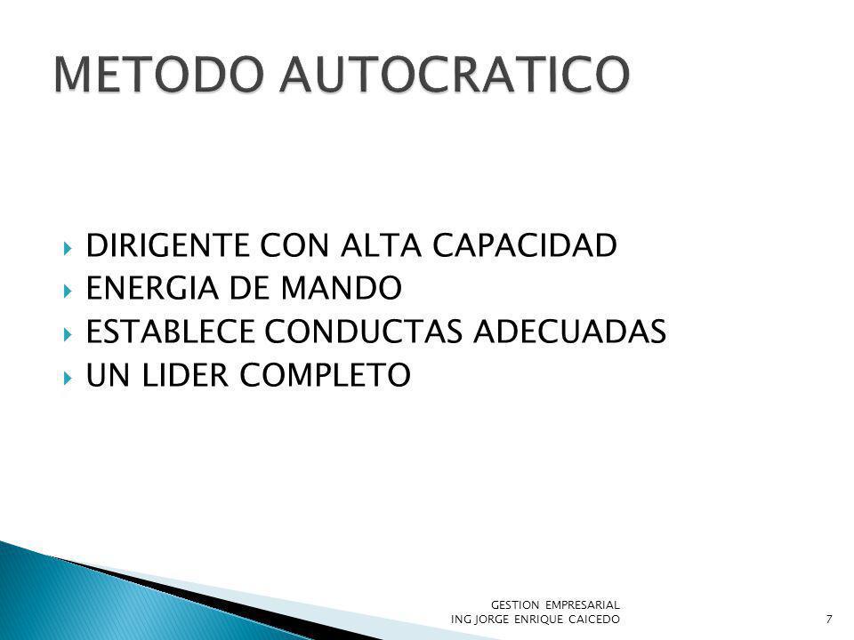DIRIGENTE CON ALTA CAPACIDAD ENERGIA DE MANDO ESTABLECE CONDUCTAS ADECUADAS UN LIDER COMPLETO GESTION EMPRESARIAL ING JORGE ENRIQUE CAICEDO7