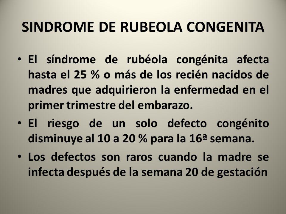 SINDROME DE RUBEOLA CONGENITA El síndrome de rubéola congénita afecta hasta el 25 % o más de los recién nacidos de madres que adquirieron la enfermeda