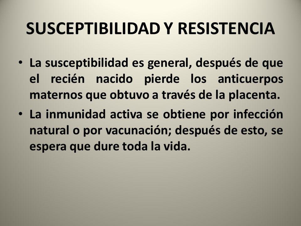 SUSCEPTIBILIDAD Y RESISTENCIA La susceptibilidad es general, después de que el recién nacido pierde los anticuerpos maternos que obtuvo a través de la