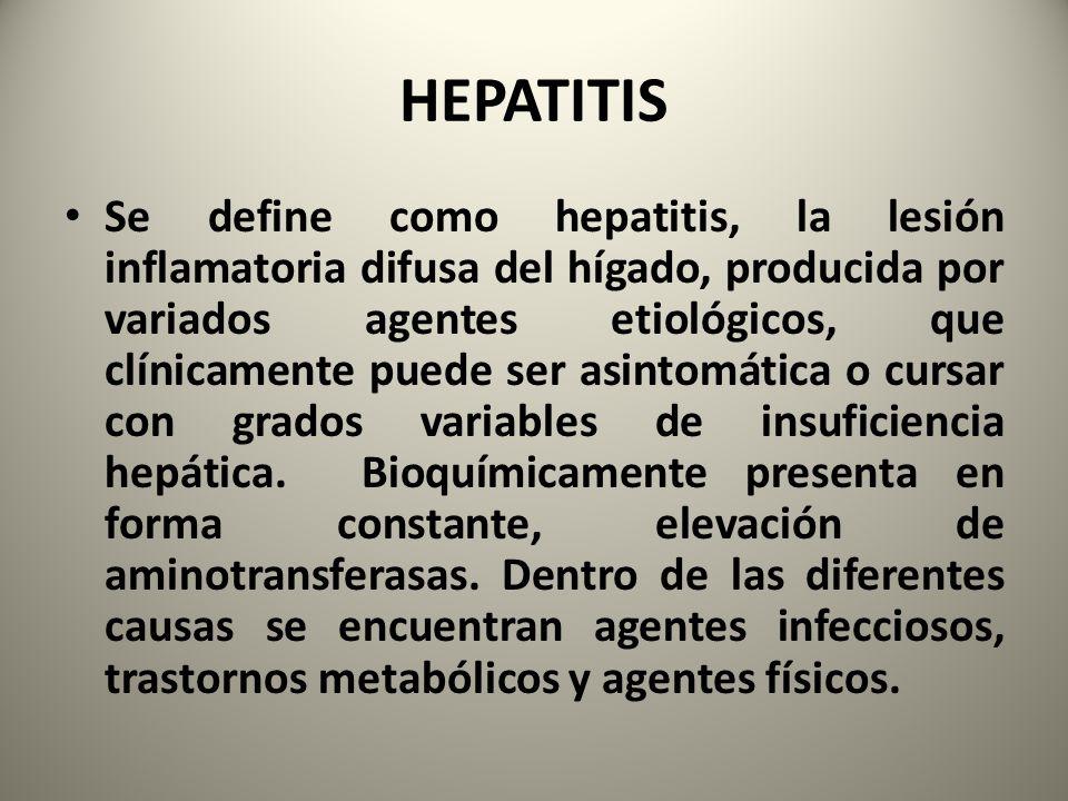 Se define como hepatitis, la lesión inflamatoria difusa del hígado, producida por variados agentes etiológicos, que clínicamente puede ser asintomátic