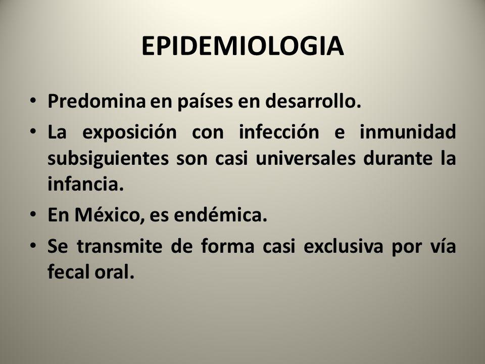 EPIDEMIOLOGIA Predomina en países en desarrollo. La exposición con infección e inmunidad subsiguientes son casi universales durante la infancia. En Mé