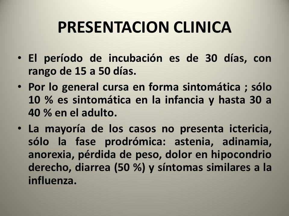 PRESENTACION CLINICA El período de incubación es de 30 días, con rango de 15 a 50 días. Por lo general cursa en forma sintomática ; sólo 10 % es sinto