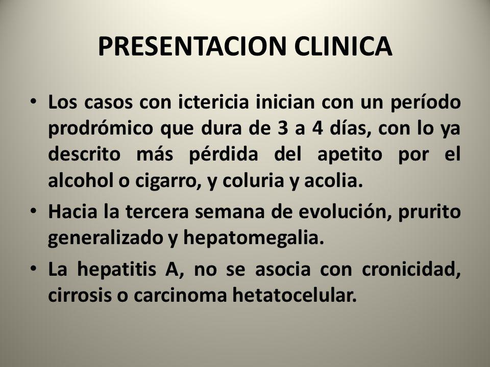 PRESENTACION CLINICA Los casos con ictericia inician con un período prodrómico que dura de 3 a 4 días, con lo ya descrito más pérdida del apetito por