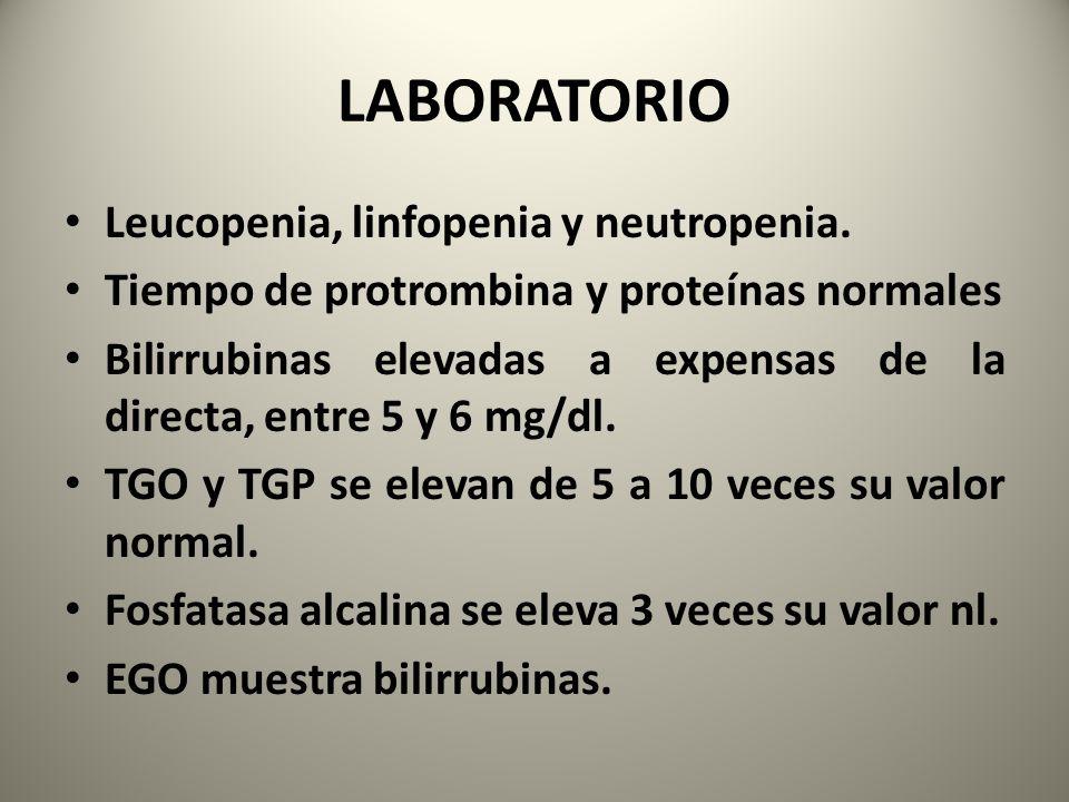 LABORATORIO Leucopenia, linfopenia y neutropenia. Tiempo de protrombina y proteínas normales Bilirrubinas elevadas a expensas de la directa, entre 5 y