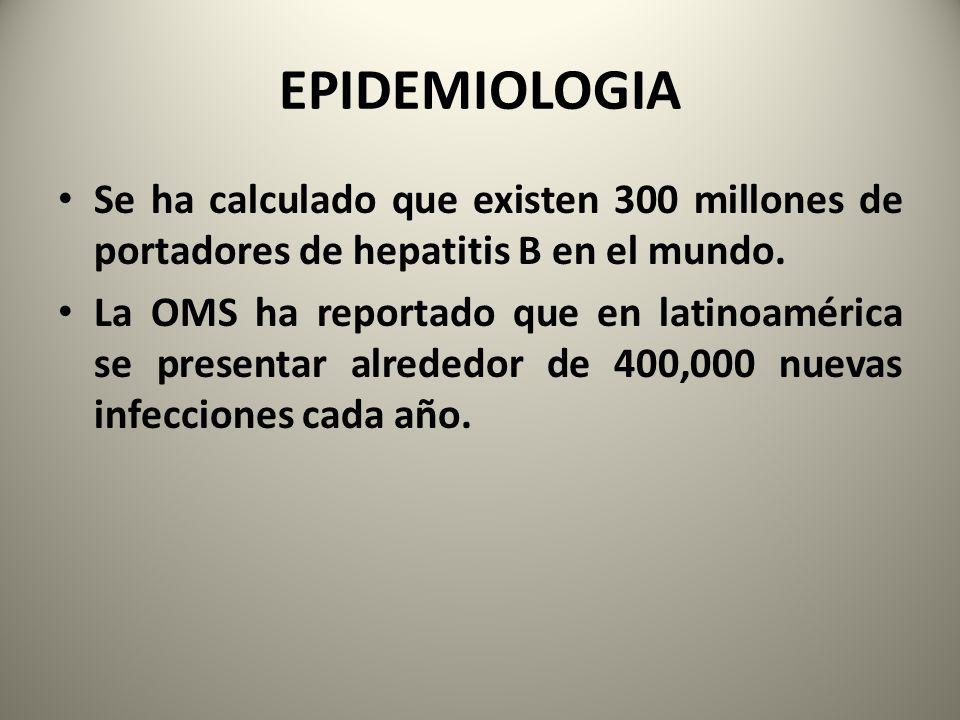 EPIDEMIOLOGIA Se ha calculado que existen 300 millones de portadores de hepatitis B en el mundo. La OMS ha reportado que en latinoamérica se presentar