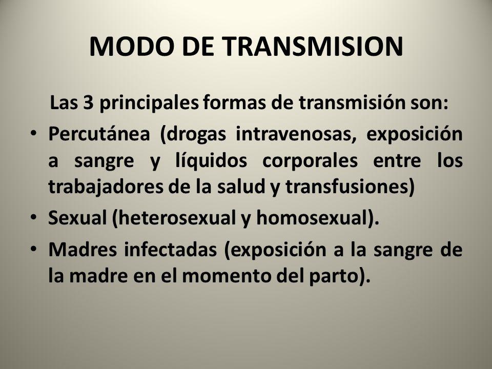 MODO DE TRANSMISION Las 3 principales formas de transmisión son: Percutánea (drogas intravenosas, exposición a sangre y líquidos corporales entre los