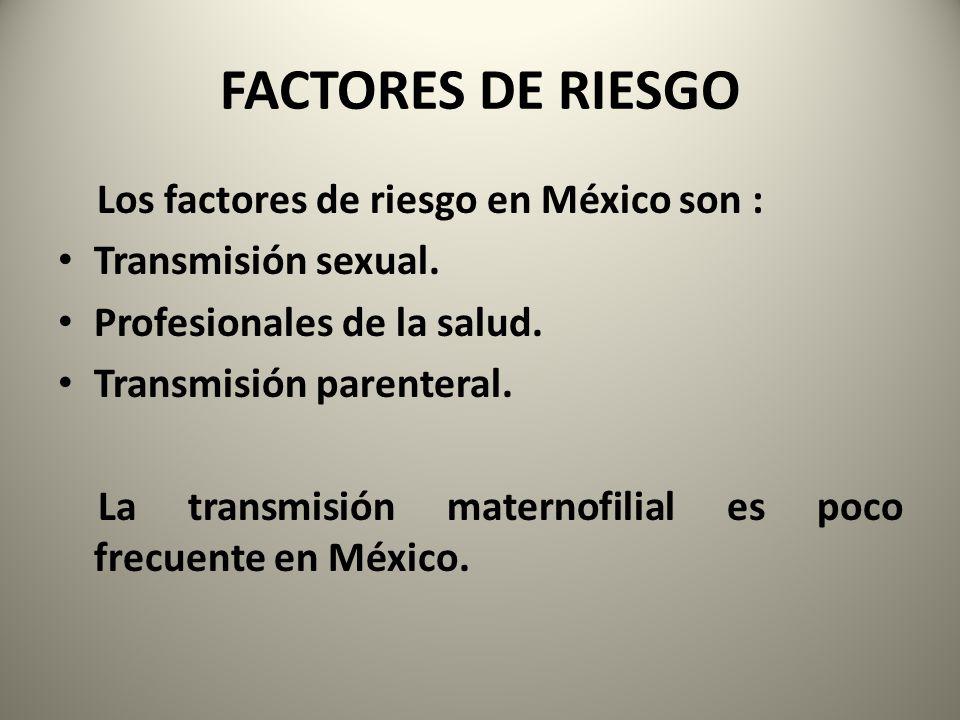 FACTORES DE RIESGO Los factores de riesgo en México son : Transmisión sexual. Profesionales de la salud. Transmisión parenteral. La transmisión matern