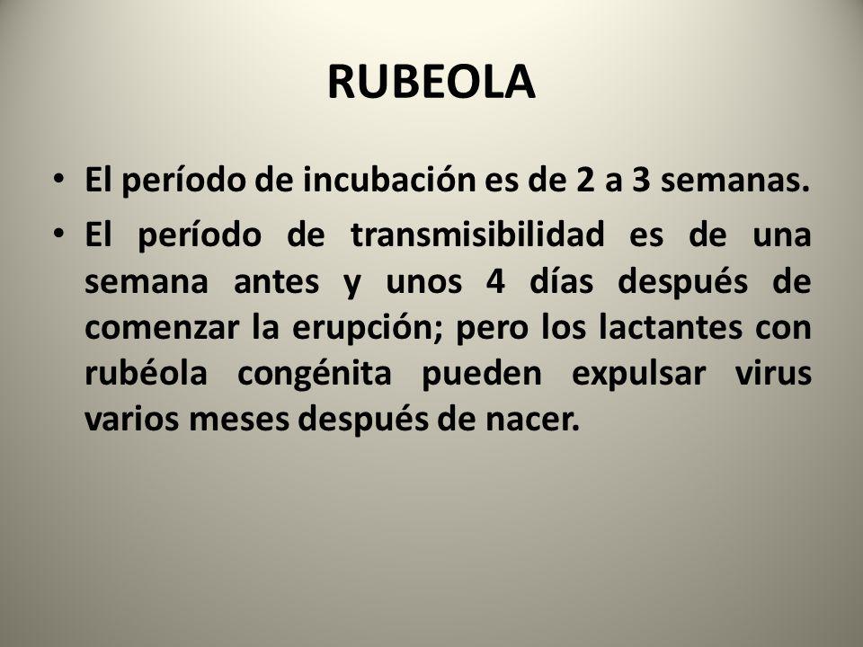 RUBEOLA El período de incubación es de 2 a 3 semanas. El período de transmisibilidad es de una semana antes y unos 4 días después de comenzar la erupc