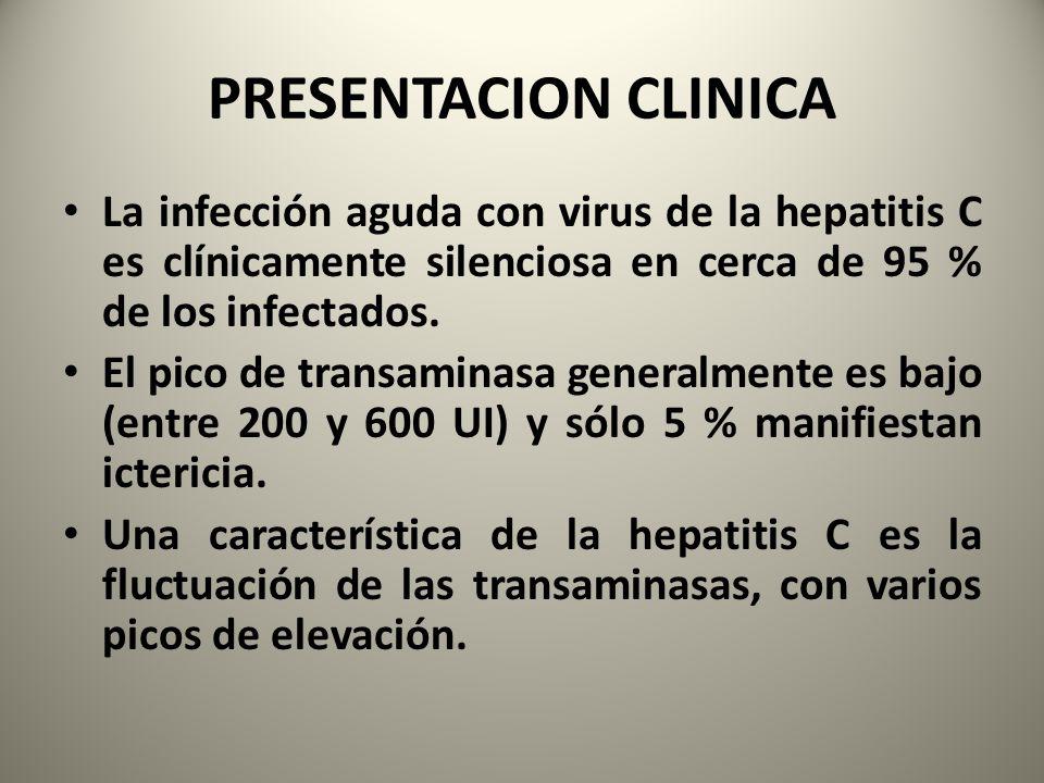 PRESENTACION CLINICA La infección aguda con virus de la hepatitis C es clínicamente silenciosa en cerca de 95 % de los infectados. El pico de transami