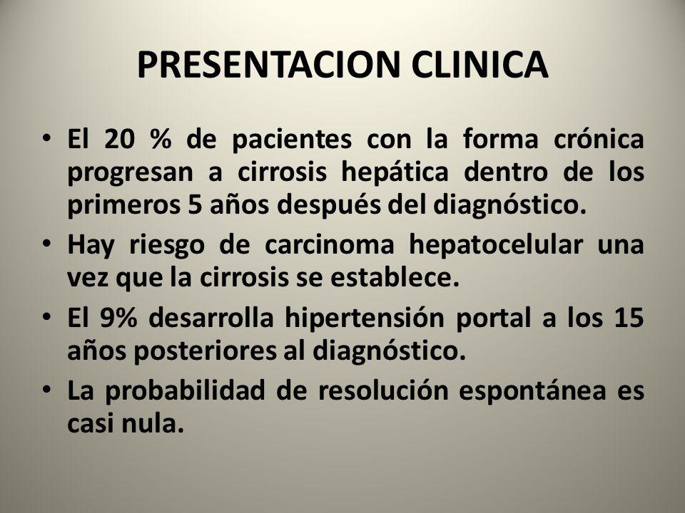 PRESENTACION CLINICA El 20 % de pacientes con la forma crónica progresan a cirrosis hepática dentro de los primeros 5 años después del diagnóstico. Ha
