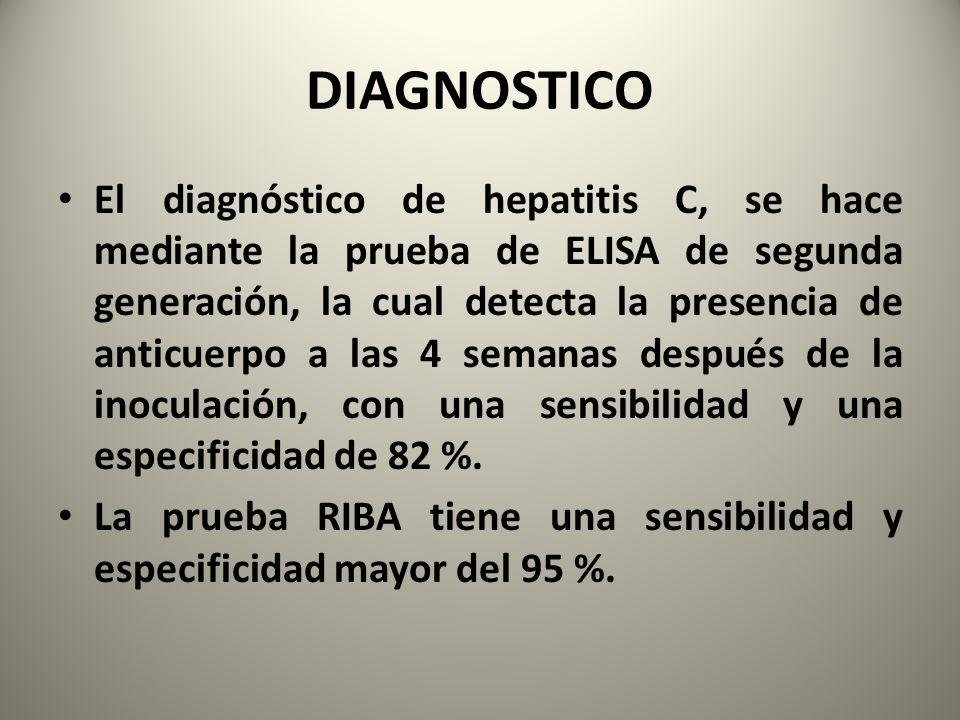 DIAGNOSTICO El diagnóstico de hepatitis C, se hace mediante la prueba de ELISA de segunda generación, la cual detecta la presencia de anticuerpo a las