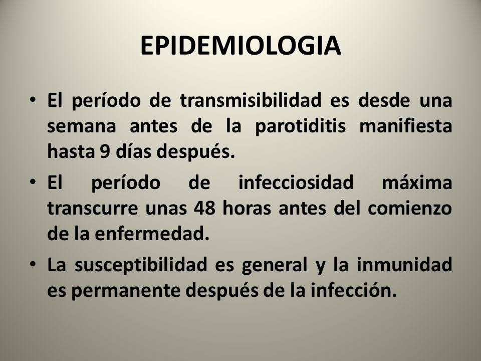 EPIDEMIOLOGIA El período de transmisibilidad es desde una semana antes de la parotiditis manifiesta hasta 9 días después. El período de infecciosidad