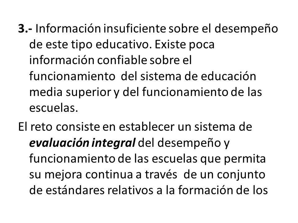 3.- Información insuficiente sobre el desempeño de este tipo educativo. Existe poca información confiable sobre el funcionamiento del sistema de educa
