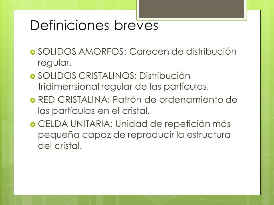 Definiciones breves SOLIDOS AMORFOS: Carecen de distribución regular. SOLIDOS CRISTALINOS: Distribución tridimensional regular de las partículas. RED