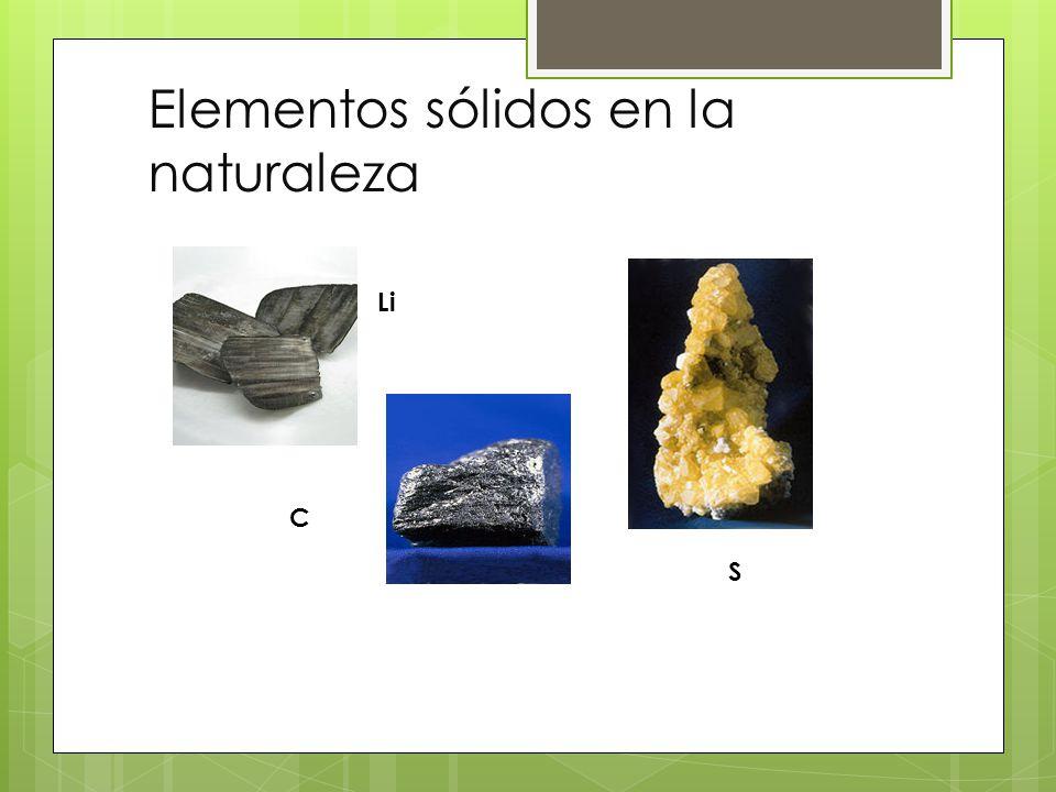 Elementos sólidos en la naturaleza Li C S