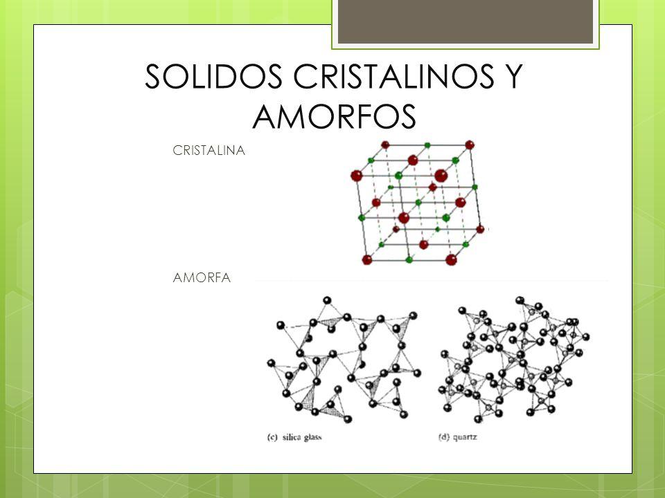 SOLIDOS CRISTALINOS Y AMORFOS CRISTALINA AMORFA