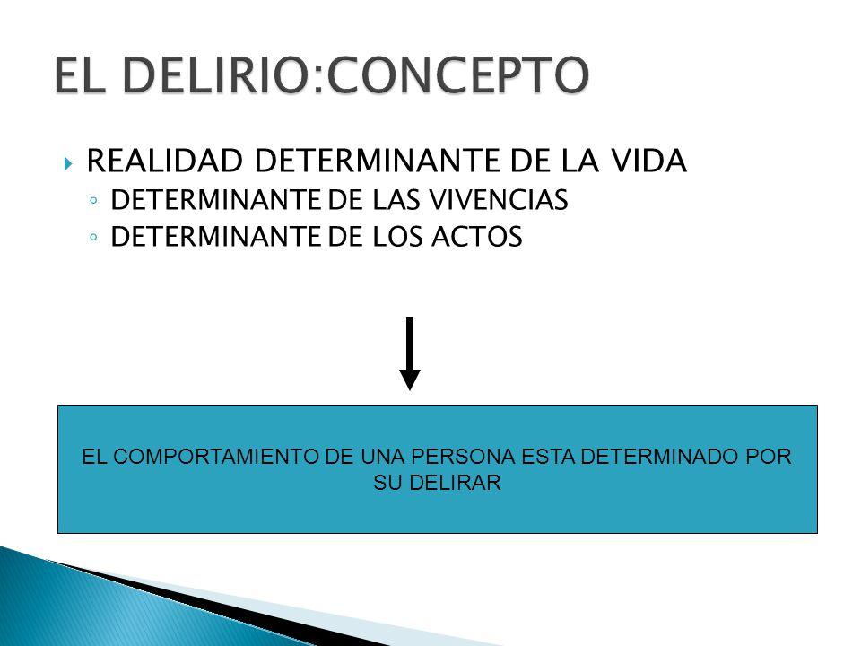 REALIDAD DETERMINANTE DE LA VIDA DETERMINANTE DE LAS VIVENCIAS DETERMINANTE DE LOS ACTOS EL COMPORTAMIENTO DE UNA PERSONA ESTA DETERMINADO POR SU DELIRAR