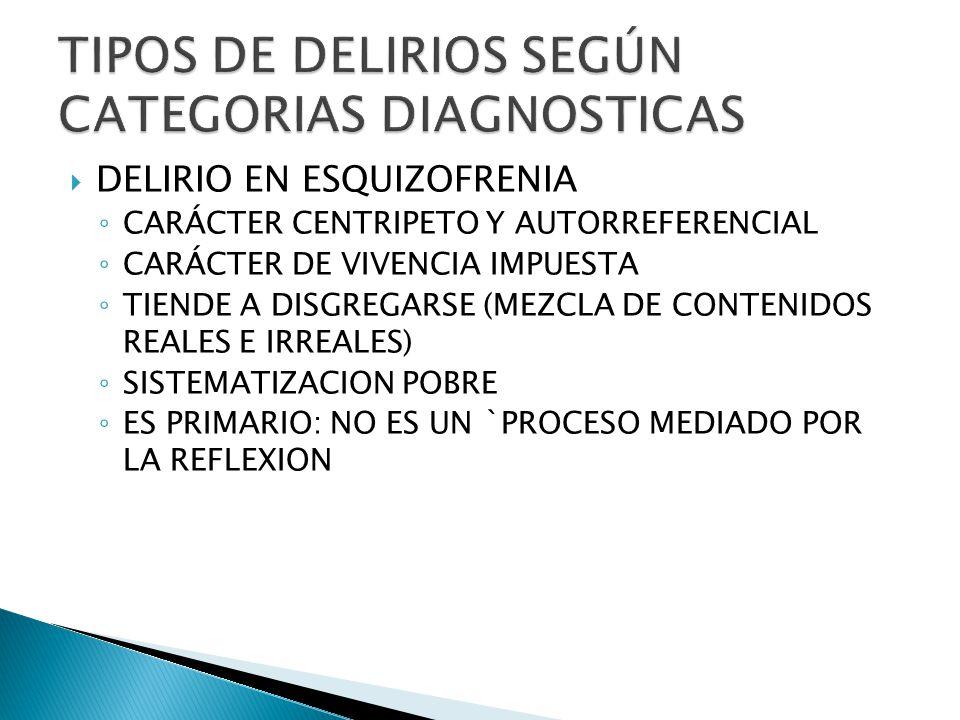 DELIRIO EN ESQUIZOFRENIA CARÁCTER CENTRIPETO Y AUTORREFERENCIAL CARÁCTER DE VIVENCIA IMPUESTA TIENDE A DISGREGARSE (MEZCLA DE CONTENIDOS REALES E IRREALES) SISTEMATIZACION POBRE ES PRIMARIO: NO ES UN `PROCESO MEDIADO POR LA REFLEXION