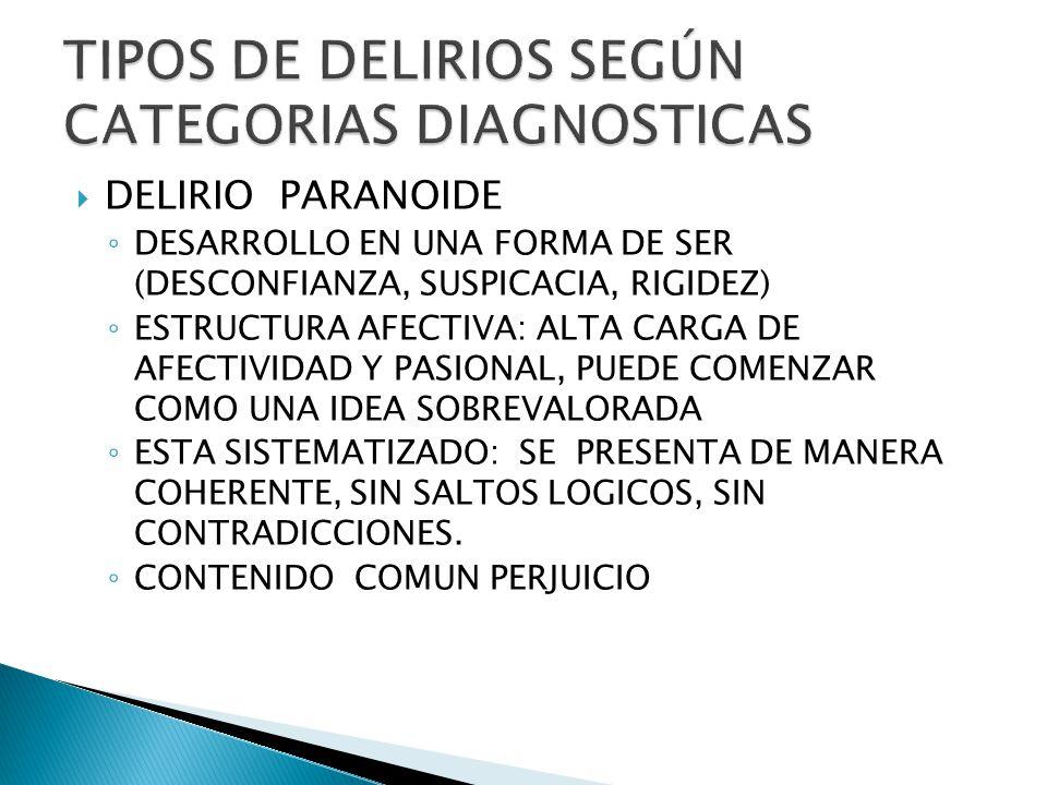 DELIRIO PARANOIDE DESARROLLO EN UNA FORMA DE SER (DESCONFIANZA, SUSPICACIA, RIGIDEZ) ESTRUCTURA AFECTIVA: ALTA CARGA DE AFECTIVIDAD Y PASIONAL, PUEDE COMENZAR COMO UNA IDEA SOBREVALORADA ESTA SISTEMATIZADO: SE PRESENTA DE MANERA COHERENTE, SIN SALTOS LOGICOS, SIN CONTRADICCIONES.