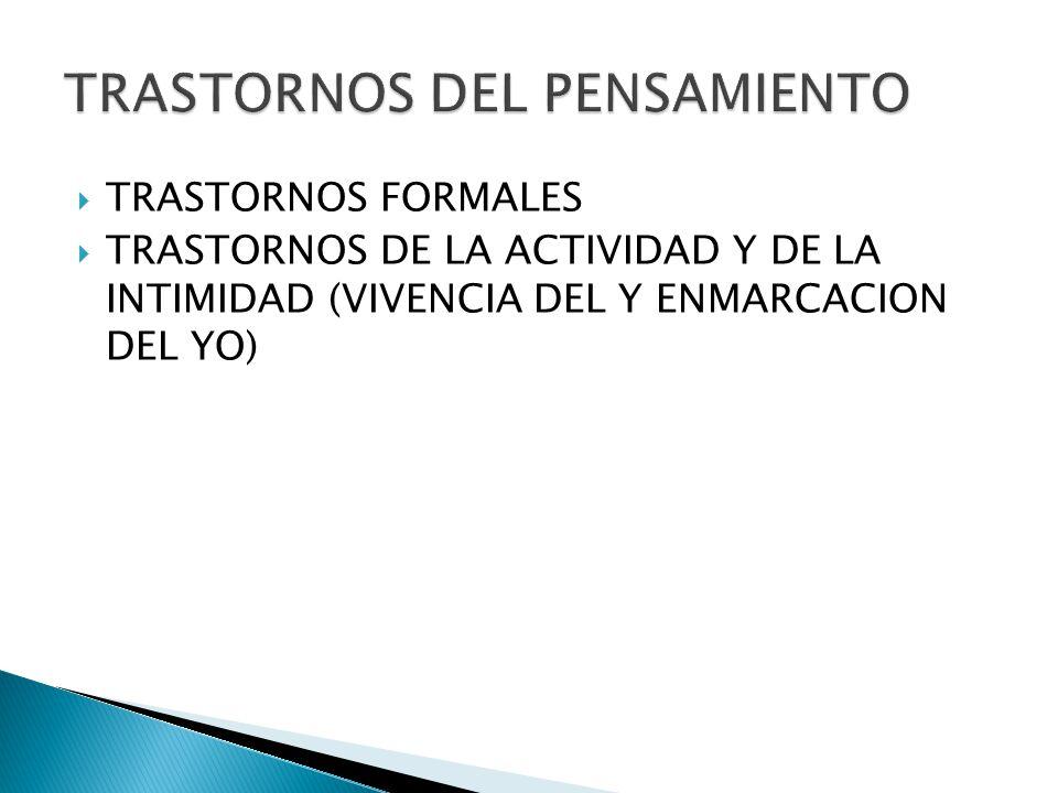 TRASTORNOS FORMALES TRASTORNOS DE LA ACTIVIDAD Y DE LA INTIMIDAD (VIVENCIA DEL Y ENMARCACION DEL YO)