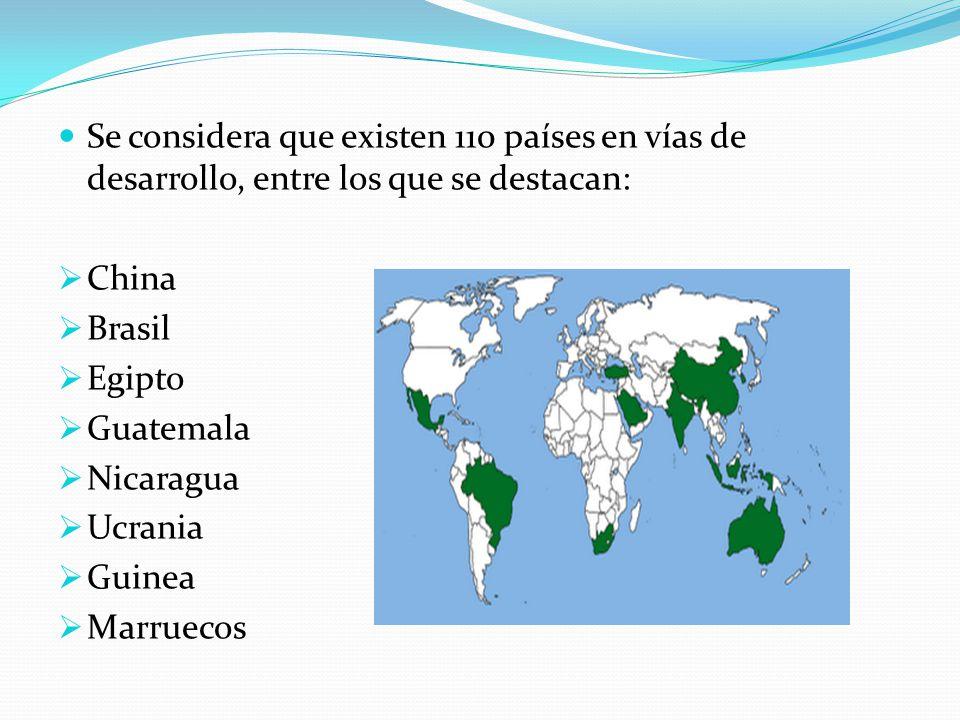 Se considera que existen 110 países en vías de desarrollo, entre los que se destacan: China Brasil Egipto Guatemala Nicaragua Ucrania Guinea Marruecos