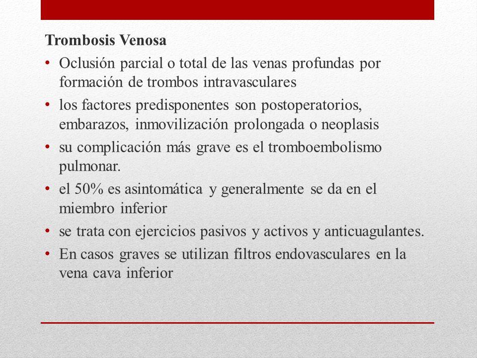 Trombosis Venosa Oclusión parcial o total de las venas profundas por formación de trombos intravasculares los factores predisponentes son postoperatorios, embarazos, inmovilización prolongada o neoplasis su complicación más grave es el tromboembolismo pulmonar.