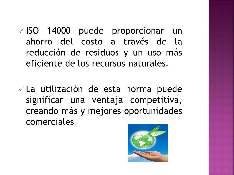 ISO 14000 puede proporcionar un ahorro del costo a través de la reducción de residuos y un uso más eficiente de los recursos naturales. La utilización