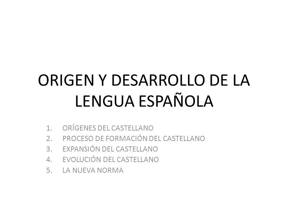 ORIGEN Y DESARROLLO DE LA LENGUA ESPAÑOLA 1.ORÍGENES DEL CASTELLANO 2.PROCESO DE FORMACIÓN DEL CASTELLANO 3.EXPANSIÓN DEL CASTELLANO 4.EVOLUCIÓN DEL C