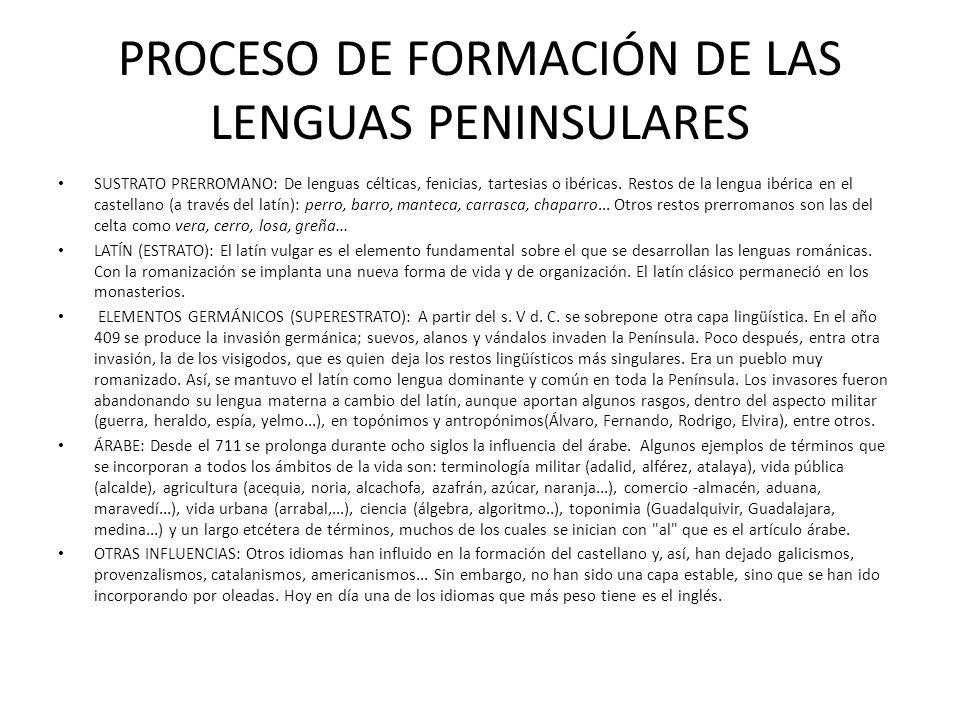 PROCESO DE FORMACIÓN DE LAS LENGUAS PENINSULARES SUSTRATO PRERROMANO: De lenguas célticas, fenicias, tartesias o ibéricas. Restos de la lengua ibérica