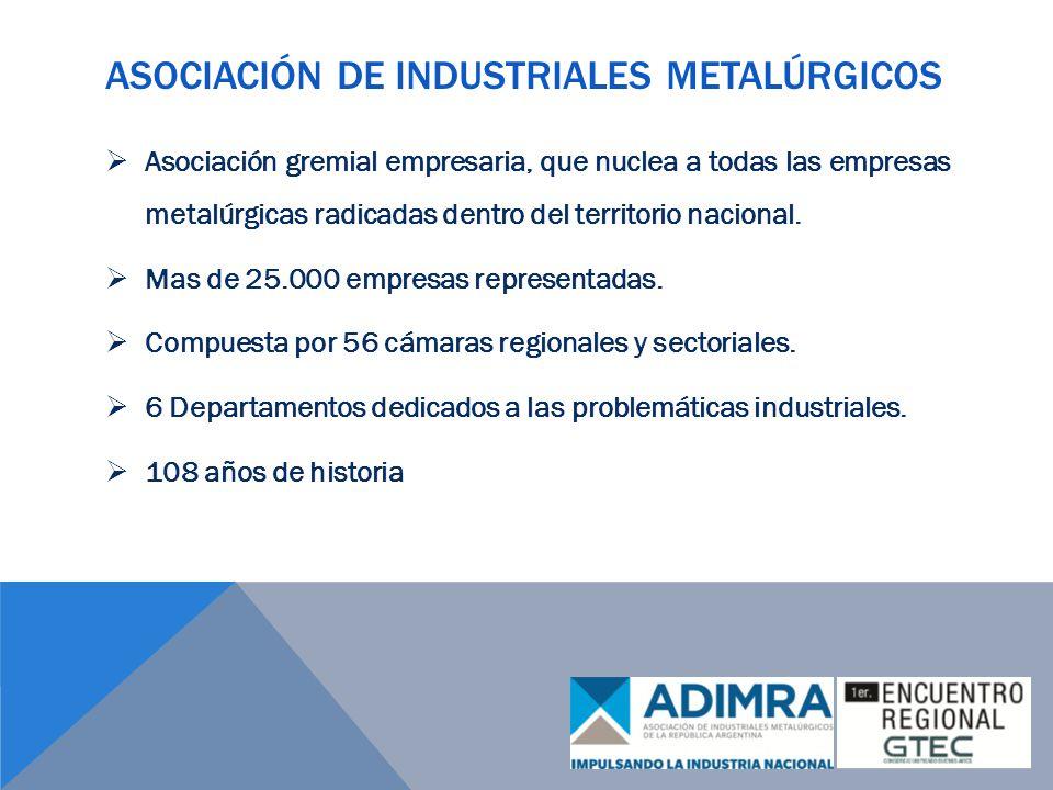 ASOCIACIÓN DE INDUSTRIALES METALÚRGICOS Asociación gremial empresaria, que nuclea a todas las empresas metalúrgicas radicadas dentro del territorio nacional.