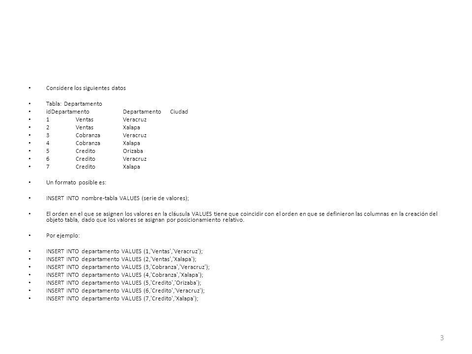 Considere los siguientes datos Tabla: Departamento idDepartamento Departamento Ciudad 1 Ventas Veracruz 2 Ventas Xalapa 3 Cobranza Veracruz 4 Cobranza