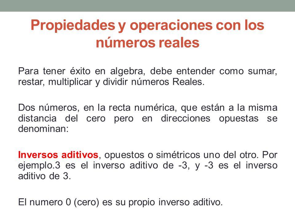 Propiedades y operaciones con los números reales Para tener éxito en algebra, debe entender como sumar, restar, multiplicar y dividir números Reales.