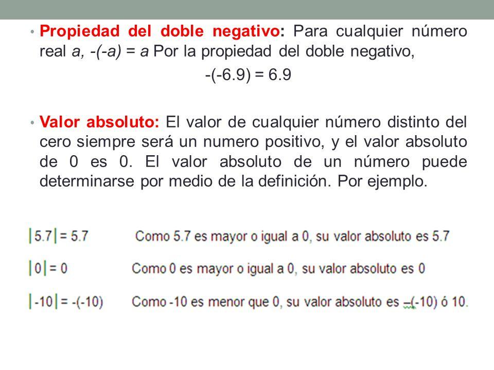 Propiedad del doble negativo: Para cualquier número real a, -(-a) = a Por la propiedad del doble negativo, -(-6.9) = 6.9 Valor absoluto: El valor de c