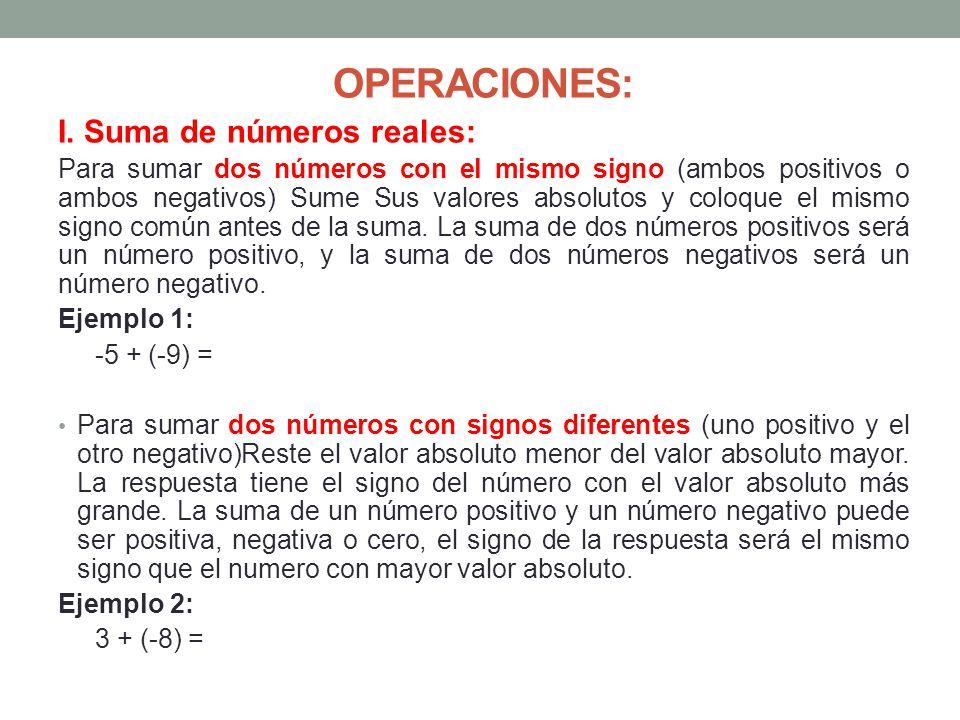 OPERACIONES: I. Suma de números reales: Para sumar dos números con el mismo signo (ambos positivos o ambos negativos) Sume Sus valores absolutos y col