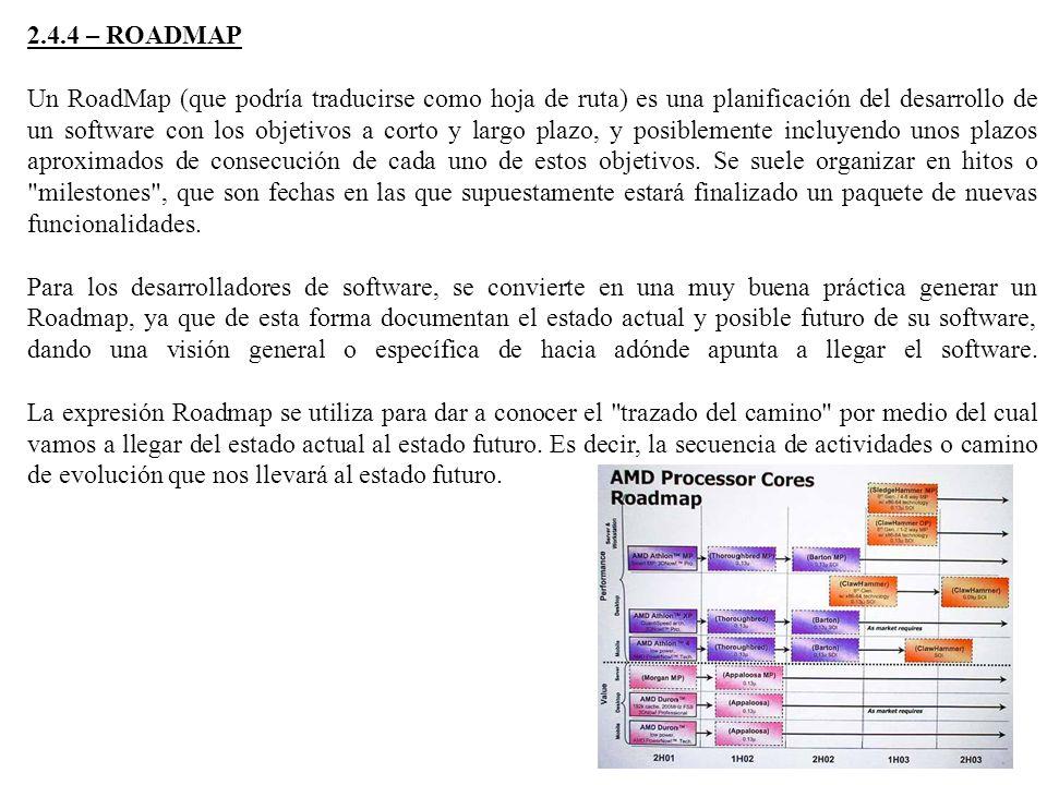 2.4.4 – ROADMAP Un RoadMap (que podría traducirse como hoja de ruta) es una planificación del desarrollo de un software con los objetivos a corto y largo plazo, y posiblemente incluyendo unos plazos aproximados de consecución de cada uno de estos objetivos.