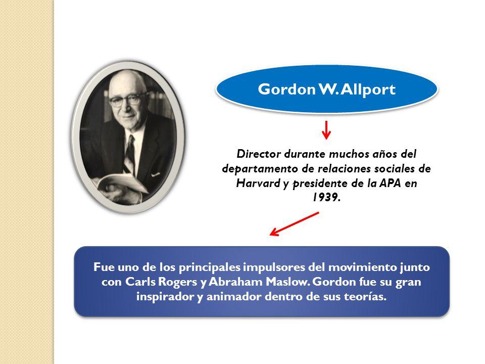Director durante muchos años del departamento de relaciones sociales de Harvard y presidente de la APA en 1939. Gordon W. Allport Fue uno de los princ