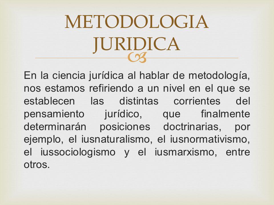 En la ciencia jurídica al hablar de metodología, nos estamos refiriendo a un nivel en el que se establecen las distintas corrientes del pensamiento ju
