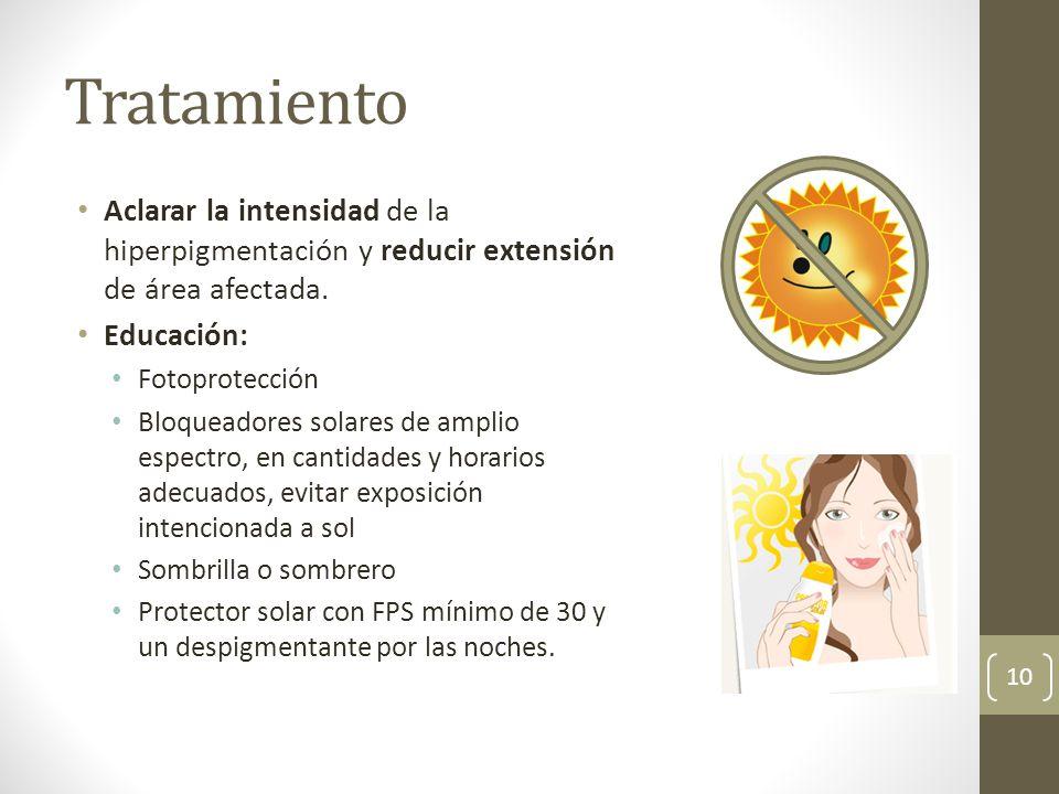 Tratamiento Aclarar la intensidad de la hiperpigmentación y reducir extensión de área afectada. Educación: Fotoprotección Bloqueadores solares de ampl