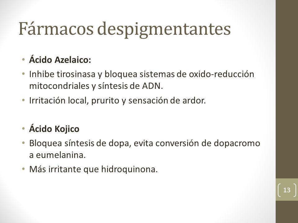 Fármacos despigmentantes Ácido Azelaico: Inhibe tirosinasa y bloquea sistemas de oxido-reducción mitocondriales y síntesis de ADN. Irritación local, p