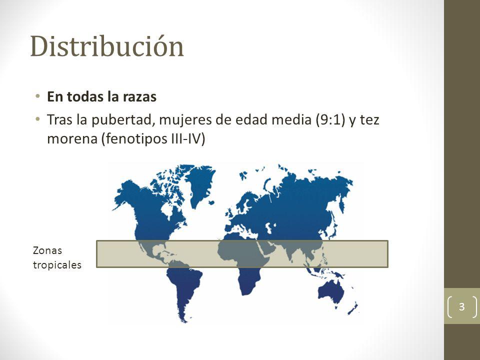 Distribución Zonas tropicales En todas la razas Tras la pubertad, mujeres de edad media (9:1) y tez morena (fenotipos III-IV) 3