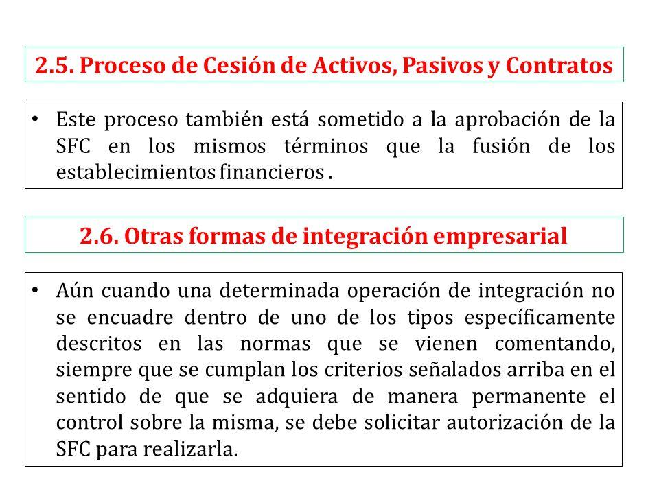 2.5. Proceso de Cesión de Activos, Pasivos y Contratos Este proceso también está sometido a la aprobación de la SFC en los mismos términos que la fusi