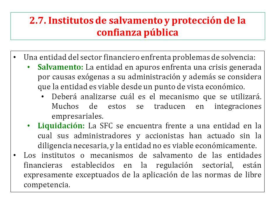 2.7. Institutos de salvamento y protección de la confianza pública Una entidad del sector financiero enfrenta problemas de solvencia: Salvamento: La e