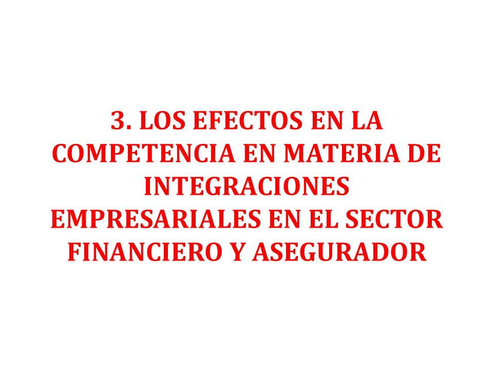 3. LOS EFECTOS EN LA COMPETENCIA EN MATERIA DE INTEGRACIONES EMPRESARIALES EN EL SECTOR FINANCIERO Y ASEGURADOR