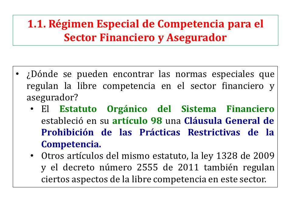 1.1. Régimen Especial de Competencia para el Sector Financiero y Asegurador ¿Dónde se pueden encontrar las normas especiales que regulan la libre comp